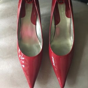 PRE-LOVED AUTHENTIC NINE WEST  LEATHER RED PUMPS